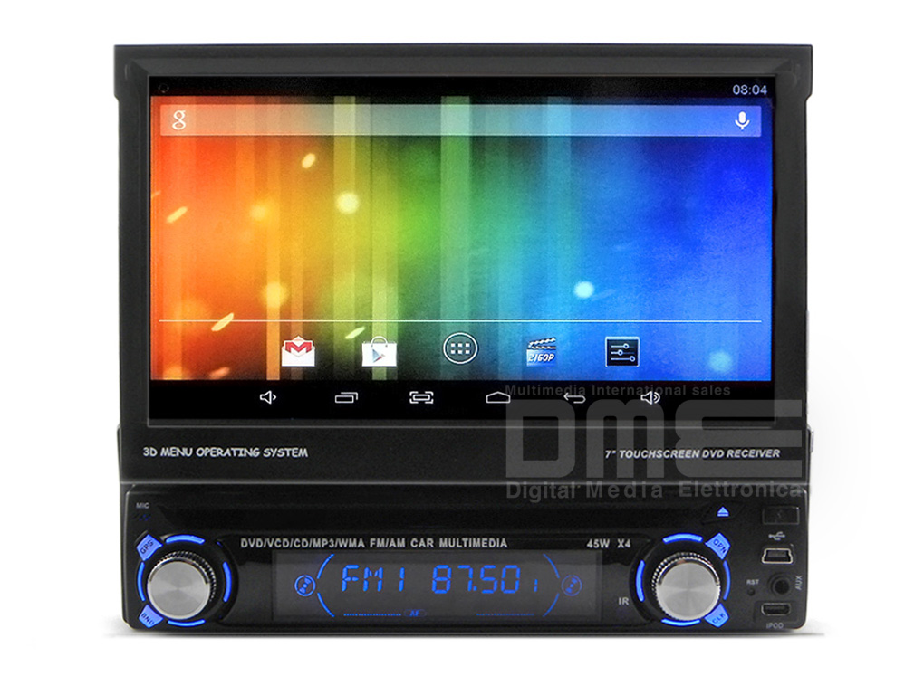 Autoradio 1 din Android 7'' LCD Touchscreen DVD Navigatore GPS Front Estraibile