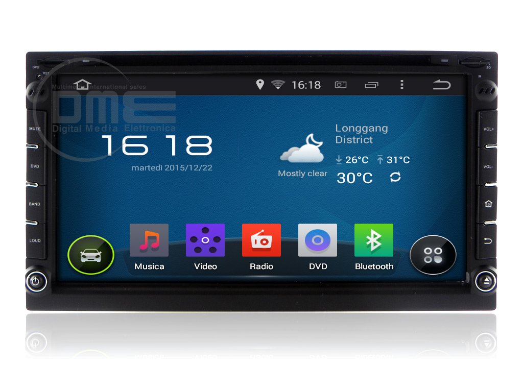 Autoradio 2DIN Android 4.4 Touch 6,95'' HD Capacitivo 1080p Navi GPS WiFi BT DVD