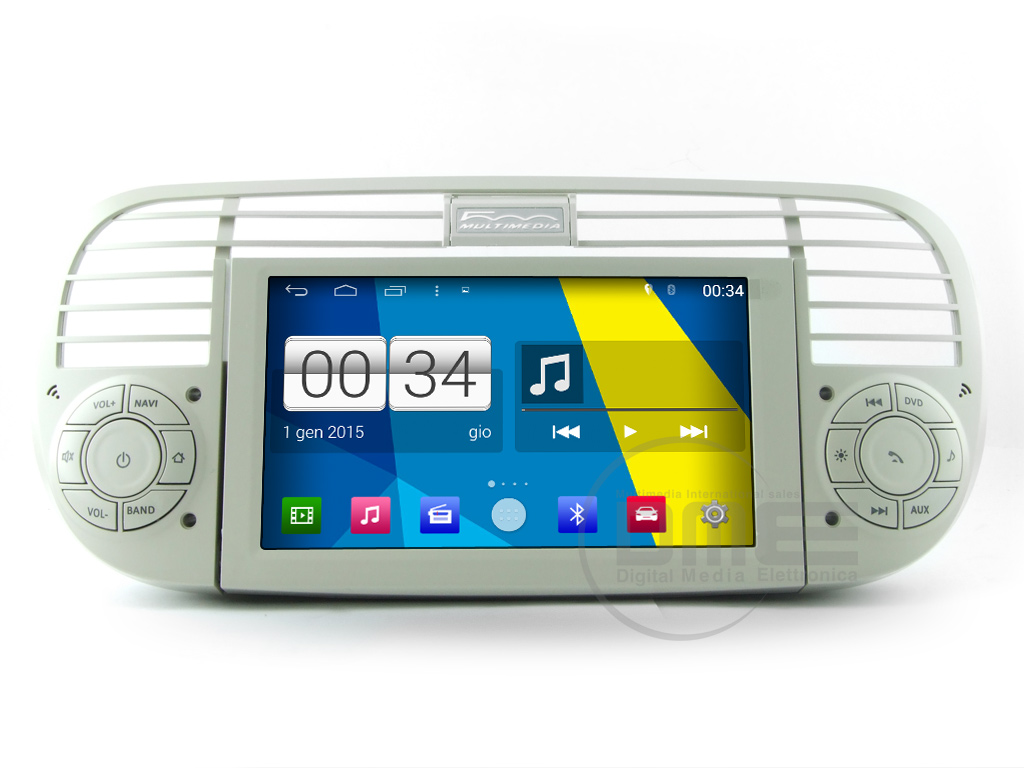 "Autoradio Fiat 500 Cinquecento Android 4.4 6,2"" Touch DVD GPS USB SD WIFI Beige"