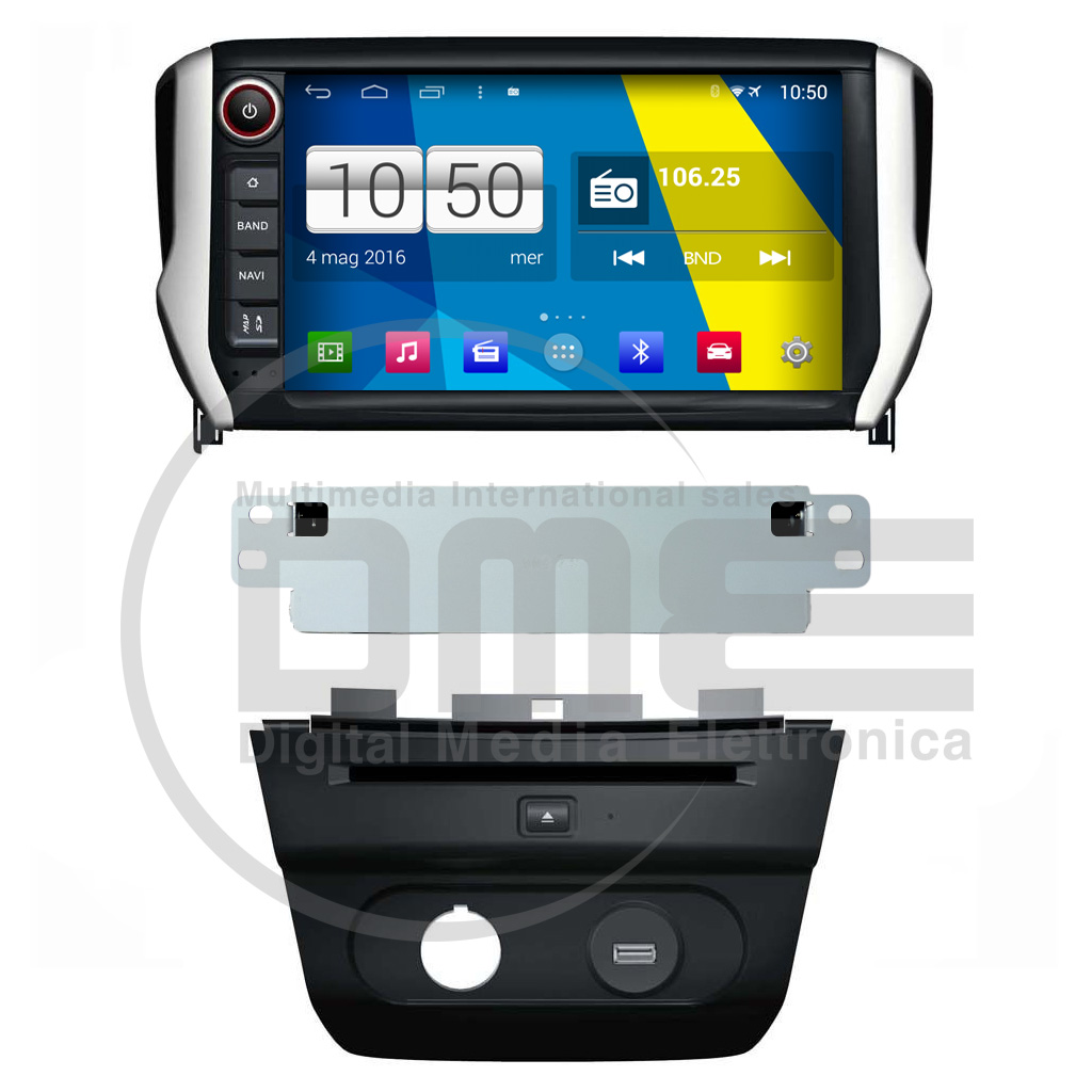 "Autoradio PEUGEOT 2008 208 Android 4.4 Touch 8"" HD DVD Navi GPS BT USB SD Wifi"