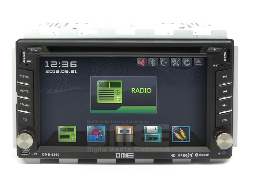 "Autoradio 2 Din 6,2"" HD Touchscreen Navigatore GPS DVD Mp3 BT USB SD"
