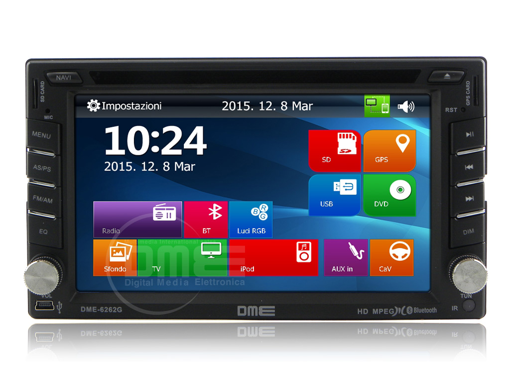 "Autoradio 2 DIN 6,2"" HD1080p Touchscreen Navigatore GPS DVD BT NAVI USB SD CD"