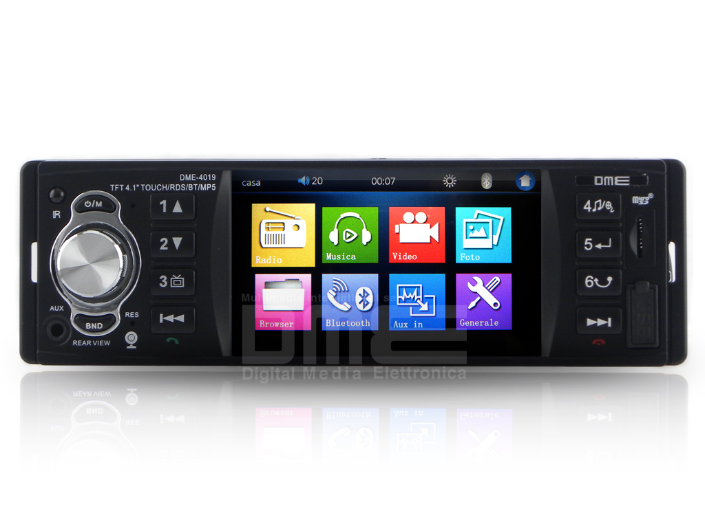 "Autoradio 1 din 4.1"" TFT touchscreen 64GB USB SD Mp4 1080p BT RDS AUX-IN Camera"