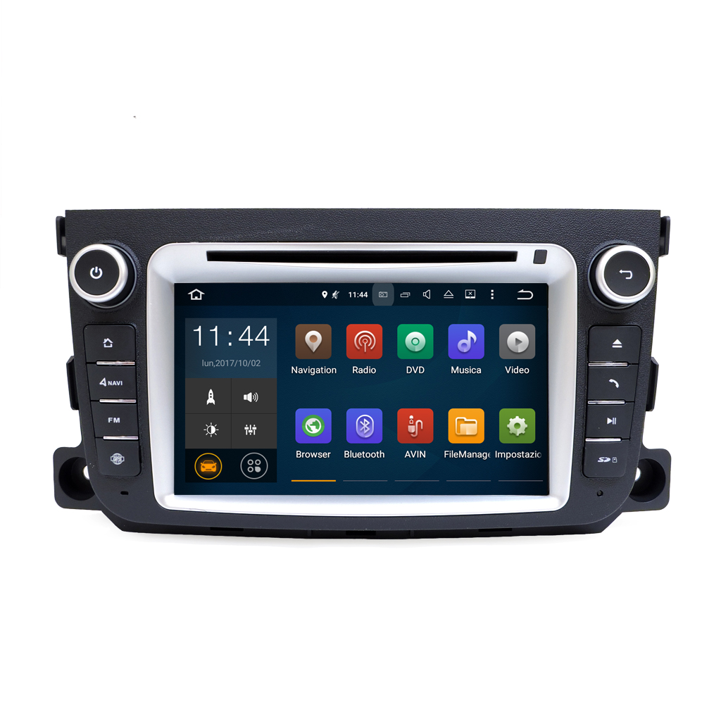 "Autoradio Android Smart ForTwo 3 Serie 2011-2012 7"" HD Touch DVD GPS BT USB Wifi"