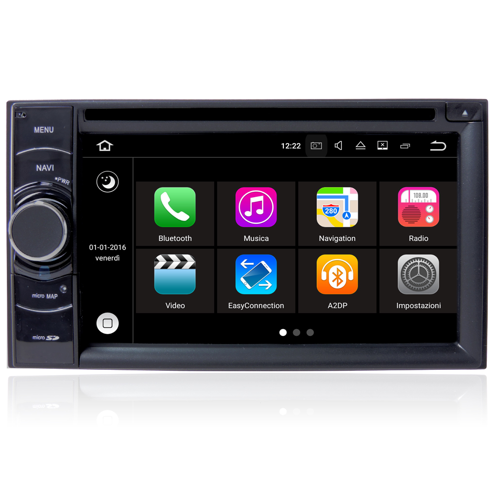 Autoradio Doppio 2 din Android 7.1 Touch 6,2'' HD DVD Navi BT ML WIFI S190