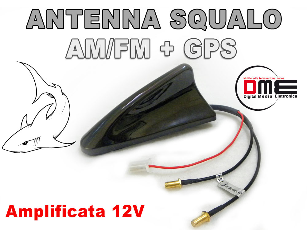 SQUALO Roof Antenna da tetto combinata SMA All in1 GPS Radio Nero Shark black