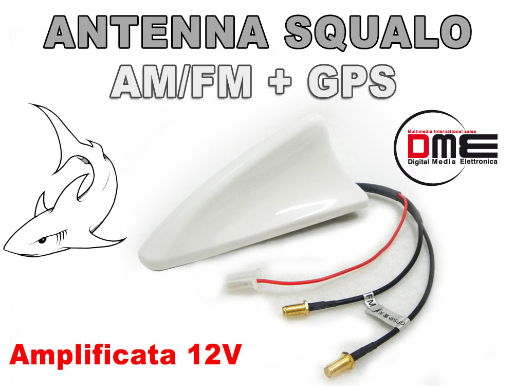 SQUALO Roof Antenna da tetto combinata SMA All in 1 GPS Radio Bianco Shark white