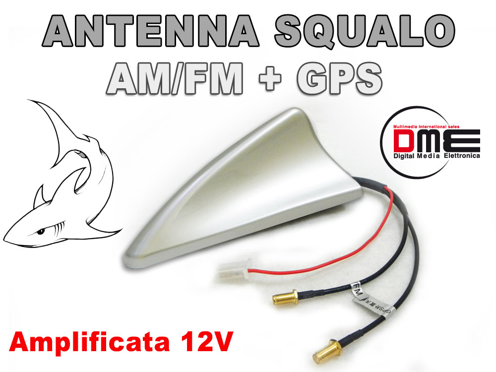 SQUALO Roof Antenna da tetto combinata SMA All in1 GPS Radio Silver Shark