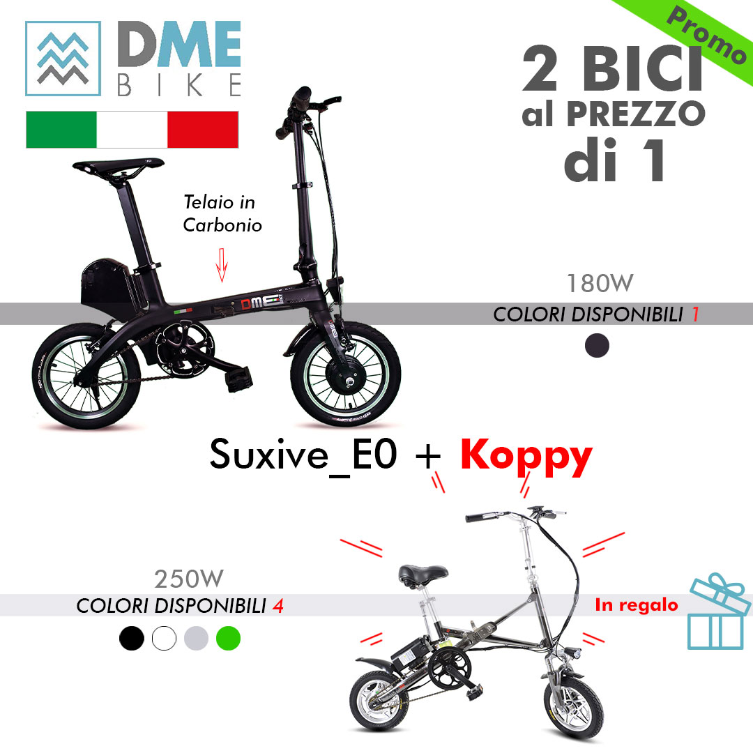 2PZ BICI BICICLETTA ELETTRICA Carbon Bike Suxive E0 180W + Folding Bike Koppy