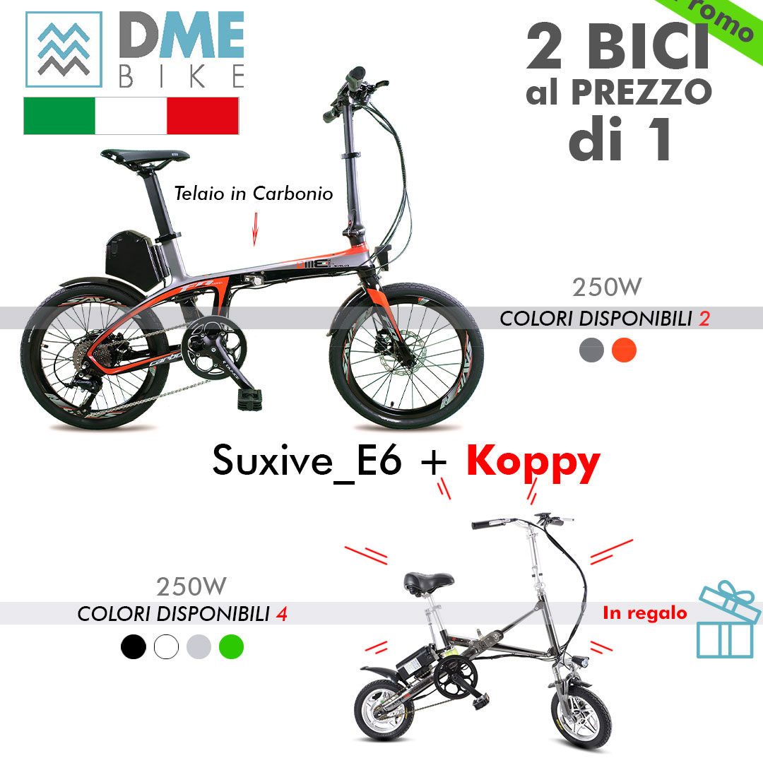 2PZ BICI BICICLETTA ELETTRICA Carbon Bike Suxive E6 250W  + Folding Bike Koppy