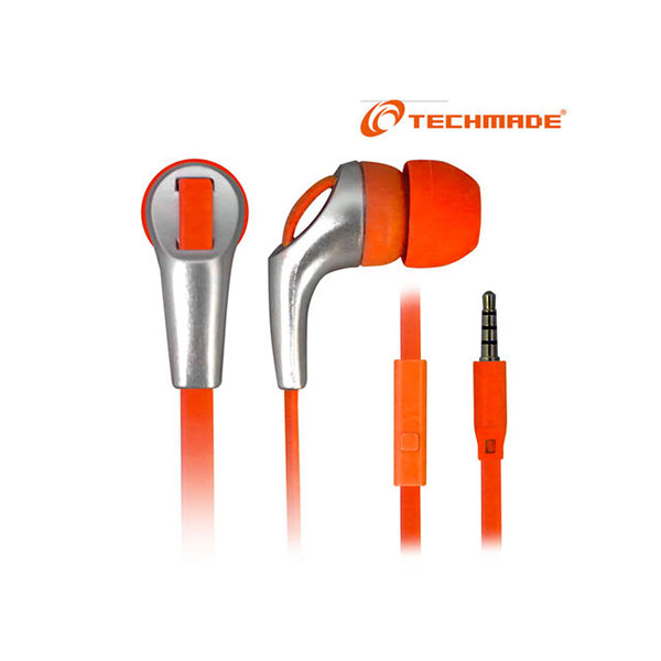 AURICOLARI + MICROFONO 3,5MM TECHMADE TM-IP002-OR ORANGE