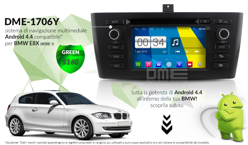 autoradio multimediale per BMW SERIE1 E8X (2004 - 2012)