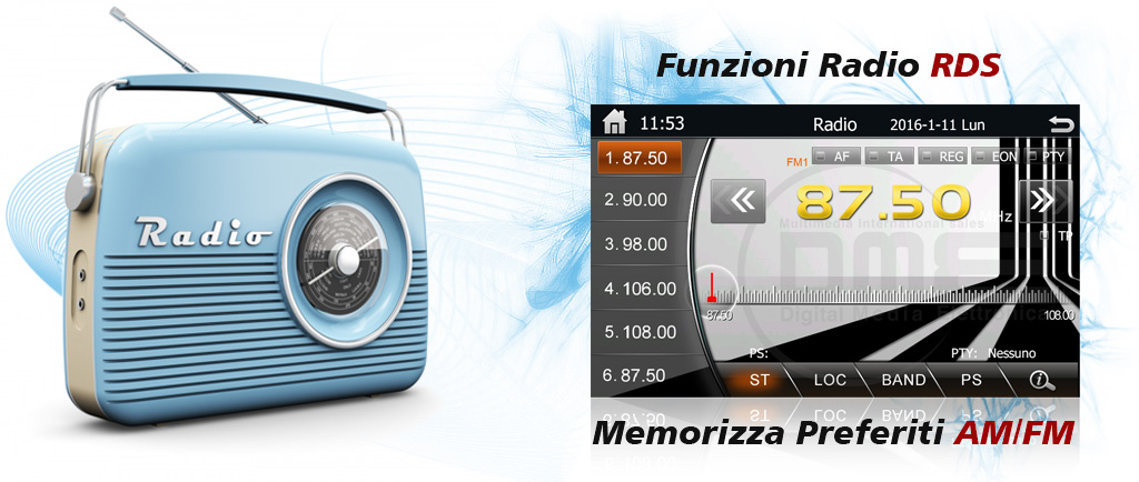 autoradio 2din con radio rds