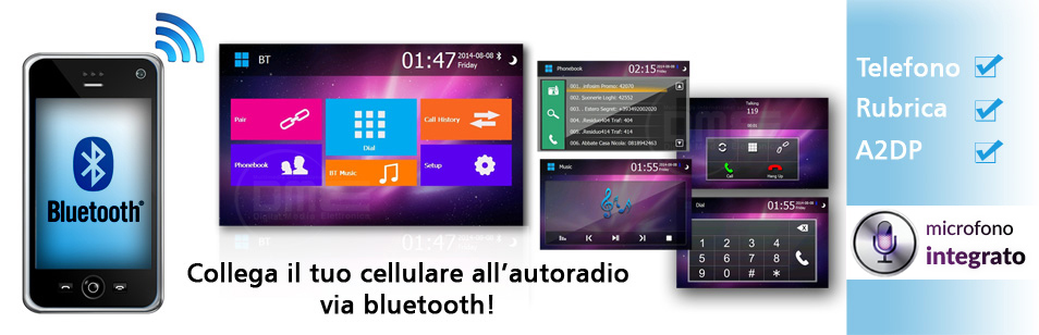 autoradio Fiat 500 con bluetooth