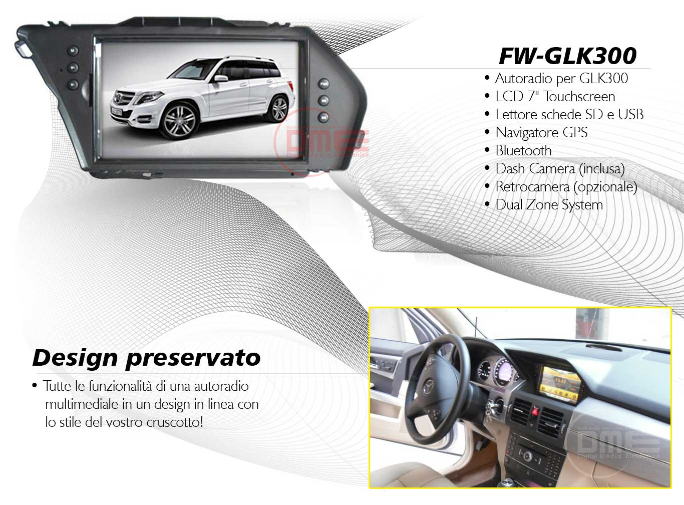 autoradio multimediale per mercedes glk 300