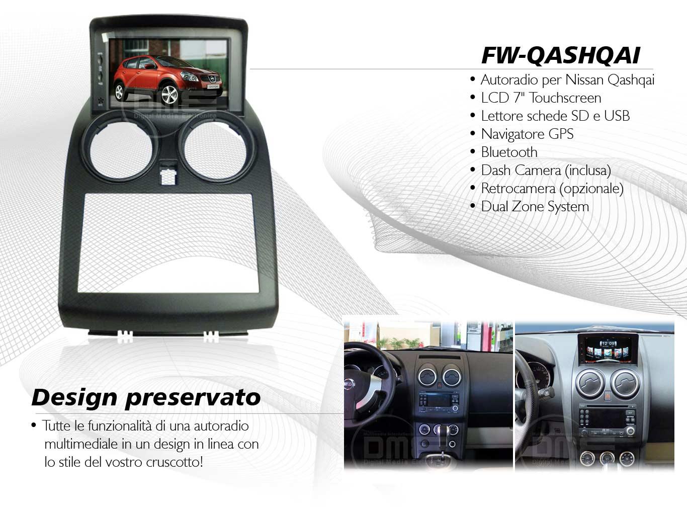 autoradio multimediale per Nissan Qashqai (fino al 2008)