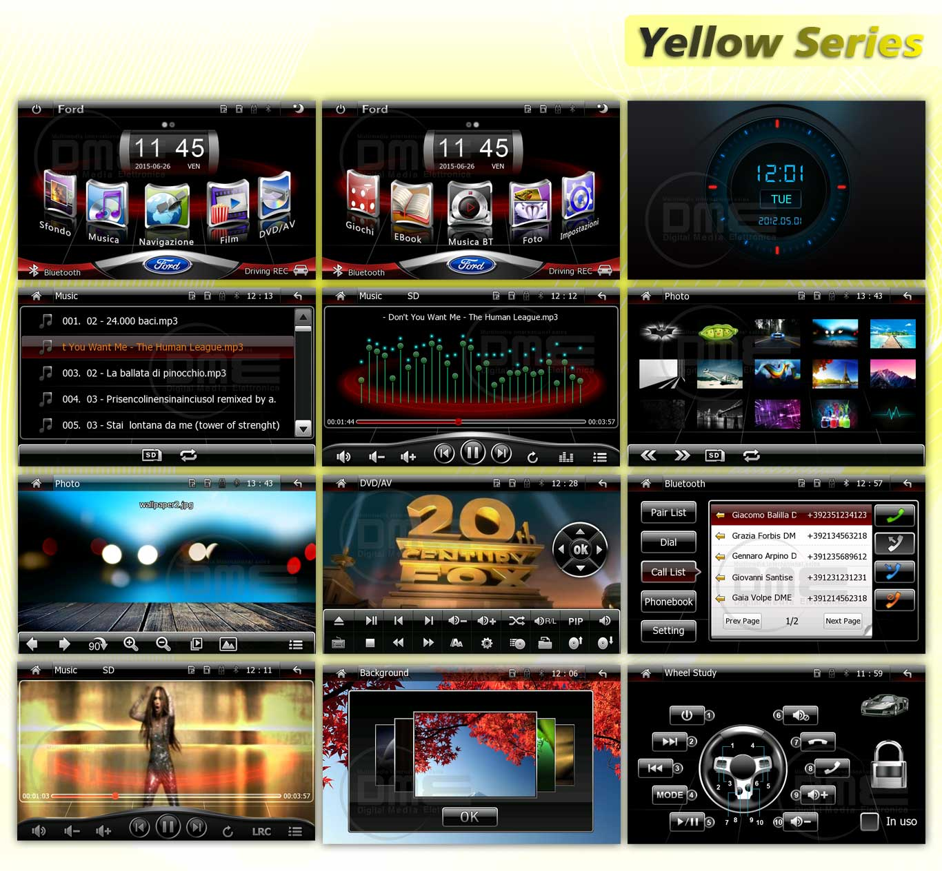 interfaccia multimediale yellow series