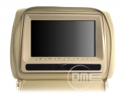 "Coppia 2x Poggiatesta Size SLIM 7"" HD LCD DVD SD USB Xvid Mp3 Giochi ZIP BEIGE"