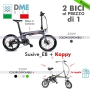 2PZ BICI BICICLETTA ELETTRICA Carbon Bike Suxive E8 250W + Folding Bike Koppy