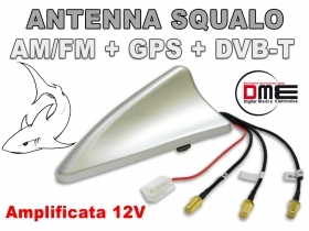 SQUALO Antenna da tetto combinata SMA All in1 GPS DVB-T e Radio AM FM Silver