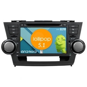 "Autoradio TOYOTA High Lander 2008+ Android 5.1 8"" HD Touch DVD Navi GPS BT S170"