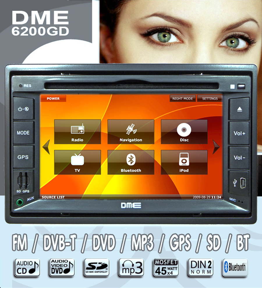 "cd dvd divx mp3 mpeg4 xvid bildschirm TOUCHSCREEN reale intelligente real 6,5"" 6,2"" 7"" lcd TFT SCHERMO  autoradio dme digitale HD 800X480 schermo display compatibile comandi al volante"