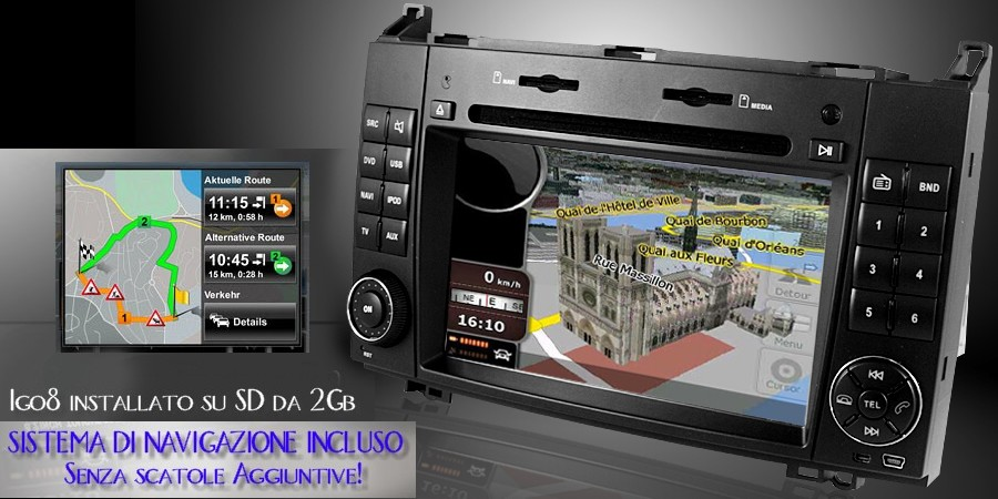 navigatore navigazione sistema navigation gps route66 igo8 tt tomtom navngo destinator7 sygic win ce 5.0 6.0 tmc dual zone satellitare